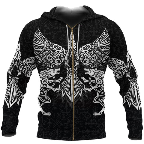 1stIceland Viking Zip Hoodie Valhalla Raven and Wolf K4