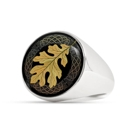 Image of 1stIceland Crest Viking Ring, Leaf Celtic J8 - 1st Iceland