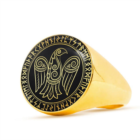 Image of 1stIceland Viking Ring, Odin's Raven Runes Circle A6 - 1st Iceland