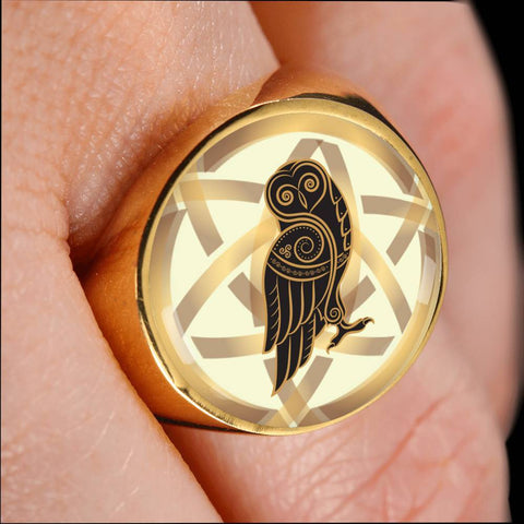 Image of 1stIceland Crest Viking Ring , Owl Celtic Knot 1 J8 - 1st Iceland