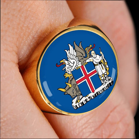 Image of 1stIceland Ring , Iceland Coat Of Arms Gold/Silver A4 - 1st Iceland
