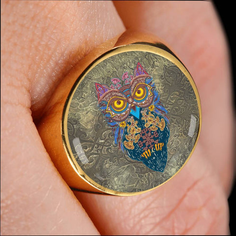 Image of 1stIceland Crest Viking Ring, Owl Celtic J8 - 1st Iceland