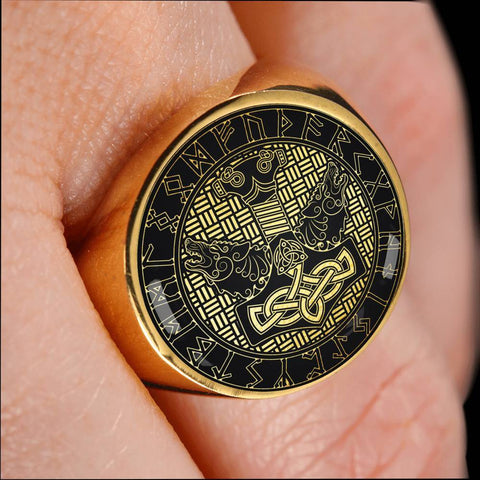 Image of 1stIceland Viking Ring , Mjolnir Fenrir Runes Circle A6 - 1st Iceland