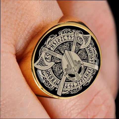 1stIceland Viking Crest Ring, Odin's Helmet Cross Axes Runes Circle J8 - 1st Iceland