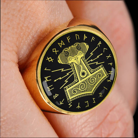 Image of 1stIceland Viking Ring, Mjolnir Rune Circle A6 - 1st Iceland