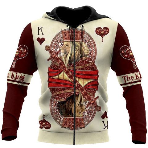 1sticeland King Hearts Lion Poker Zip Hoodie TH12 - 1st Iceland