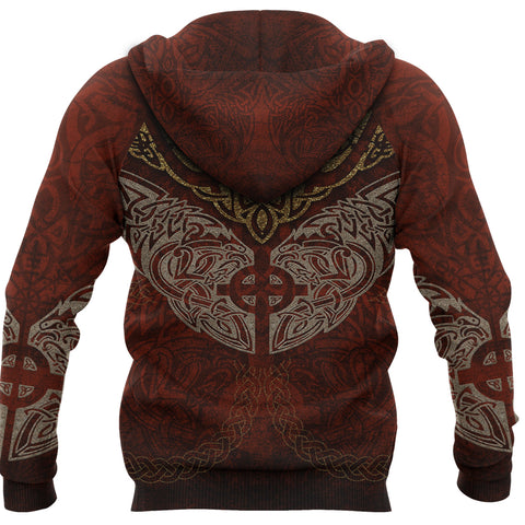 Image of 1stIceland Viking Pullover Hoodie, Sun Cross Fenrir Skoll And Hati K7 - 1st Iceland