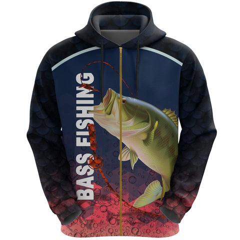 1stIceland Bass Fishing Zip Up Hoodie K8 - 1st Iceland
