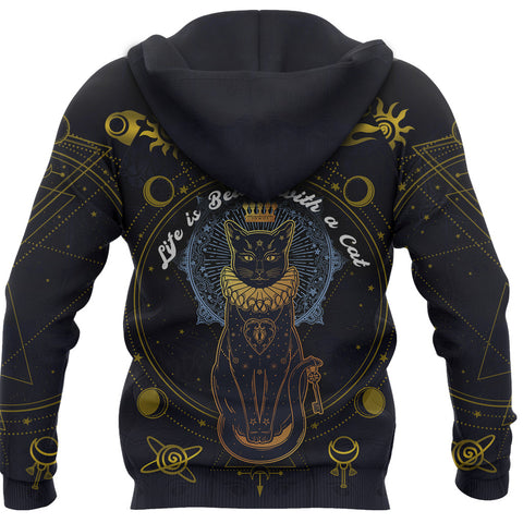 Image of 1stIceland Black Cat Zip Hoodie K8 - 1st Iceland