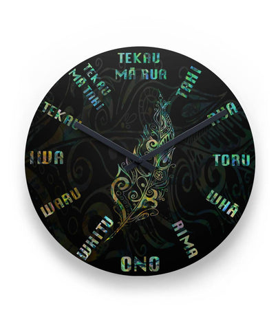 "Light Silver Fern Clock Maori Language, Paua Shell K8 11"" Round Wall Clock"