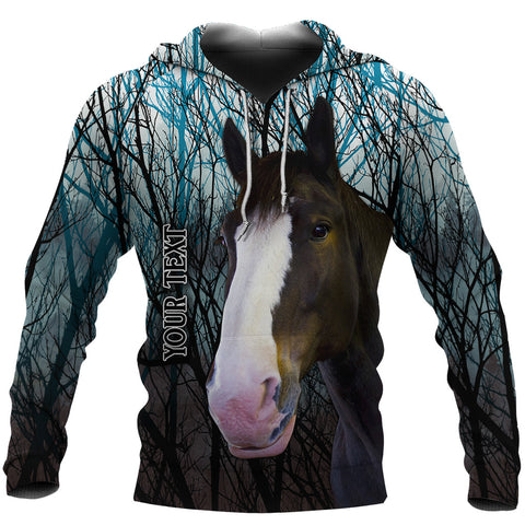 Image of (Custom Personalised) 1stIceland Clydesdale Horse Hoodie Original Style - Blue K8 - 1st Iceland