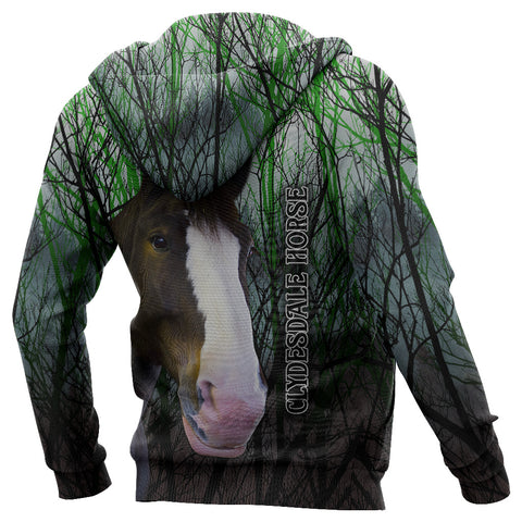 Image of (Custom Personalised) 1stIceland Clydesdale Horse Zip Hoodie Original Style - Green K8 - 1st Iceland