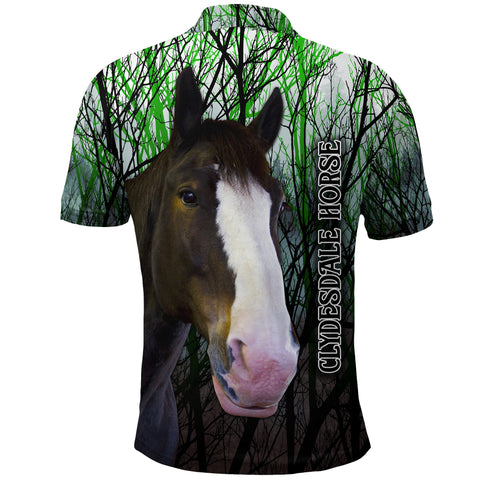 Image of (Custom Personalised) 1stIceland Clydesdale Horse Polo Shirt Original Style - Green K8 - 1st Iceland