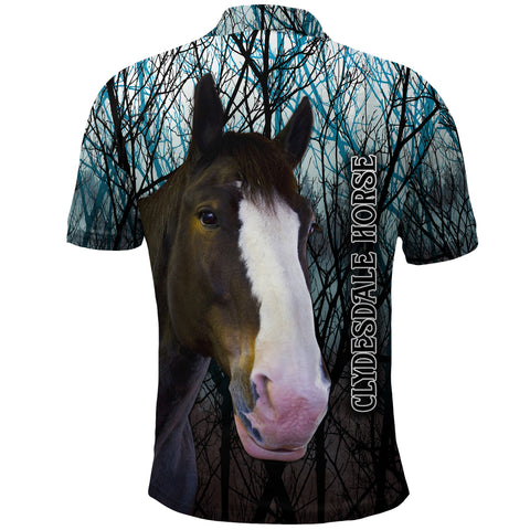 (Custom Personalised) 1stIceland Clydesdale Horse Polo Shirt Original Style - Blue K8 - 1st Iceland