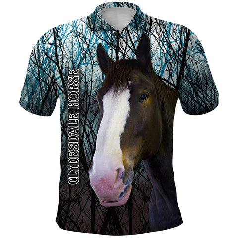 Image of 1stIceland Clydesdale Horse Polo Shirt Original Style - Blue K8 - 1st Iceland