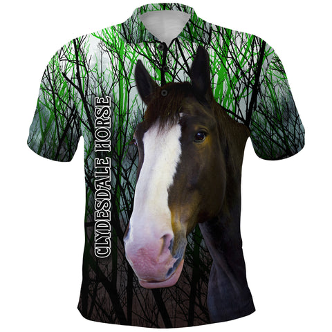 Image of 1stIceland Clydesdale Horse Polo Shirt Original Style - Green K8 - 1st Iceland