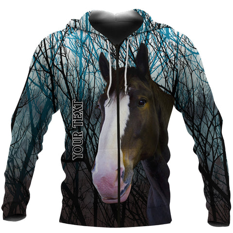Image of (Custom Personalised) 1stIceland Clydesdale Horse Zip Hoodie Original Style - Blue K8 - 1st Iceland