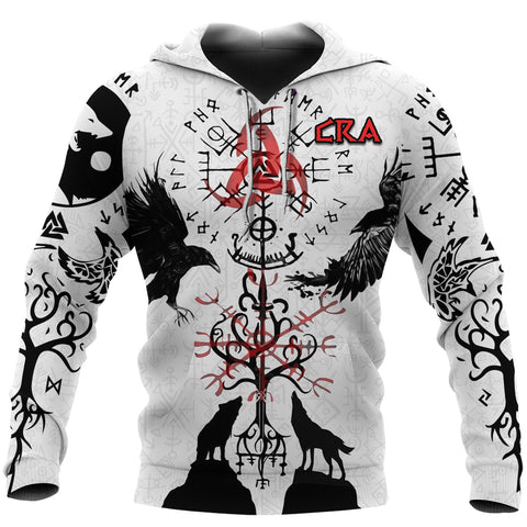 1stIceland Cerakote Refinishing Art (CRA) Viking Hoodie, Vegvisir Hugin and Munin with Fenrir Yggdrasil K4