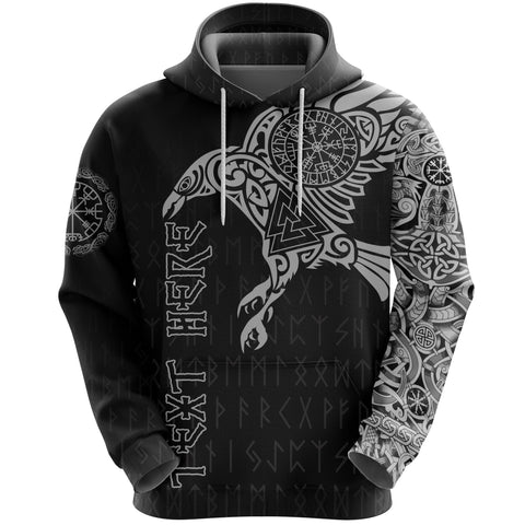 1stIceland Viking Custom Personalised Hoodie,  Odin's Raven Valknut Vegvisir Runes A7 - 1st Iceland