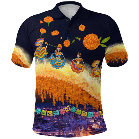 Image of 1stIceland Mexican Día de Muertos Polo Shirt Cempasúchil Flowers Bridge K8 - 1st Iceland