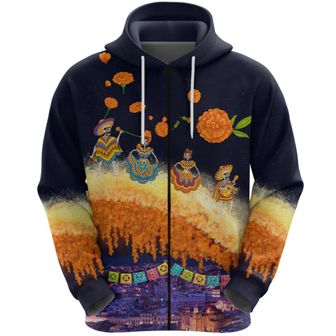Image of 1stIceland Mexican Día de Muertos Zip Hoodie Cempasúchil Flowers Bridge K8
