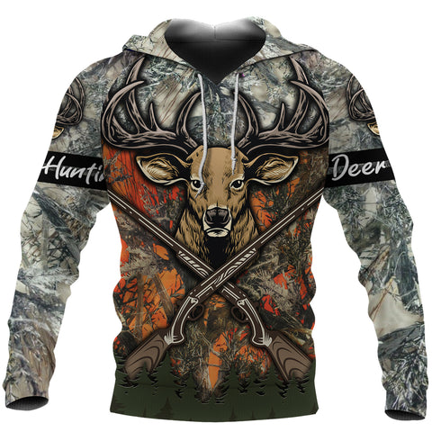 Image of Deer Hunting Camouflage Hoodie T Shirt K4 - 1st Iceland
