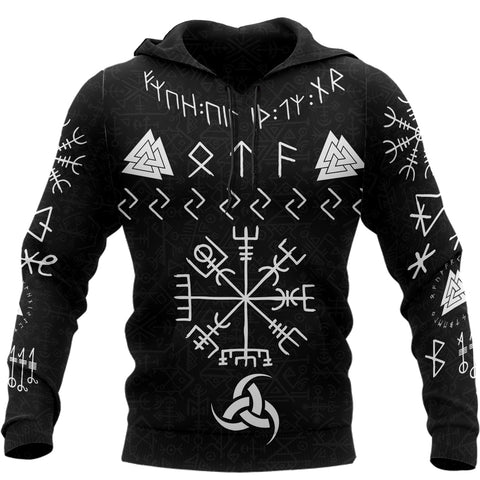 1stIceland Viking Pullover Hoodie, Vegvisir Horn Of Odin Valknut TH5 - 1st Iceland
