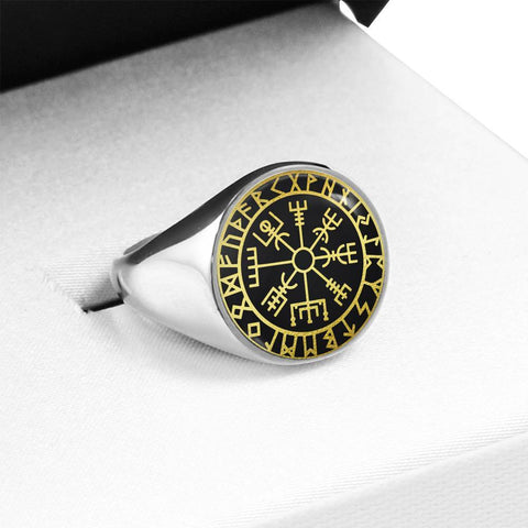 Image of 1stIceland Viking Ring, Vegvisir Runes Circle A6 - 1st Iceland