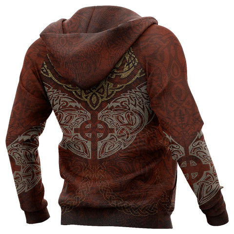 1stIceland Viking Zip Up Hoodie, Fenrir Skoll And Hati Cross K7 - 1st Iceland