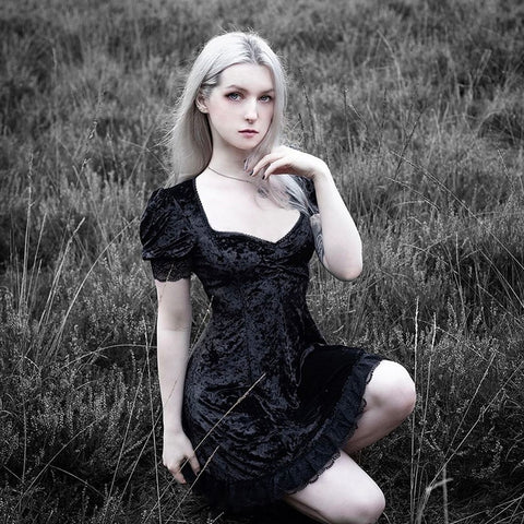 Image of Elegant Velvet Mini Dress TH19 - 1st Iceland