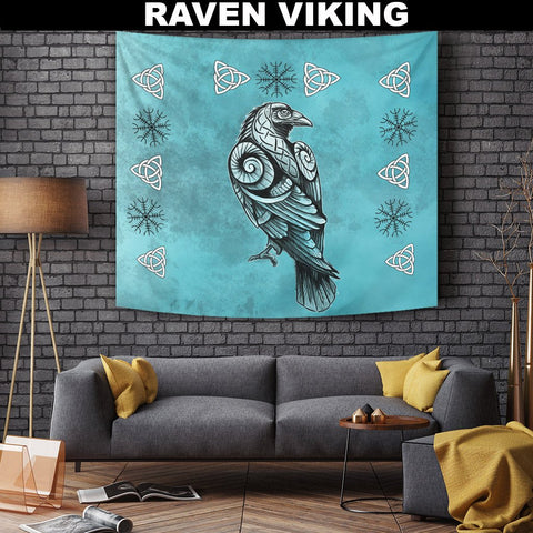 1stIceland Viking Tapestry , Odin's Raven Helm Of Awe Triquetra A7 - 1st Iceland