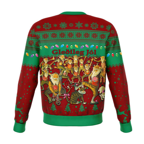 1stIceland Iceland Christmas Sweatshirt The Yule Lads Warm Vibes - Green Red K8 - 1st Iceland