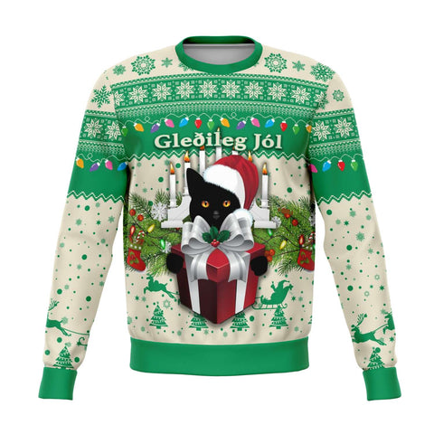 1stIceland Iceland Christmas Sweatshirt The Yule Cat Warm Vibes - Beige Green K8 - 1st Iceland