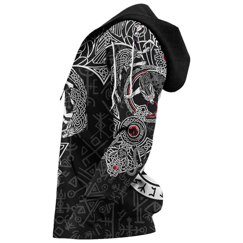 1stIceland Viking Hoodie, Fenrir Skoll And Hati Valknut Raven TH00 - 1st Iceland