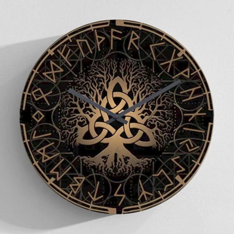 Image of 1stIceland Viking Wall Clock, Yggrasil Runes Circle K7 - 1st Iceland