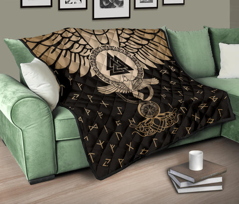 1stIceland Viking Premium Quilt, Flying Raven Tattoo And Valknut Gold - 1st Iceland