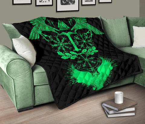 1stIceland Viking Oak Leaf Premium Quilt Valknut Vegvisir With Irminsul - Green No.1 K8 - 1st Iceland