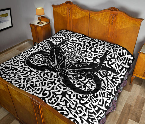 Image of 1stIceland Celtic Premium Quilt, Celtics Dragon Tattoo Th00 - White - 1st Iceland