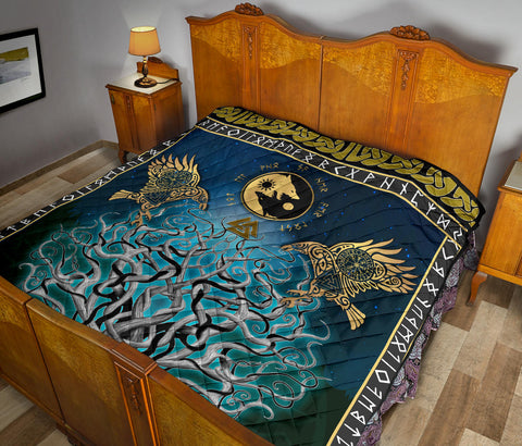 Image of 1stIceland Viking Premium Quilt, Tree Of Life Fenrir Skoll And Hati Raven Rune TH00. - 1st Iceland