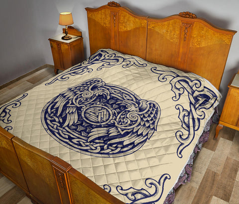 Image of 1stIceland Viking Premium Quilt , Valknut Huggin And Muninn Th00 - 1st Iceland