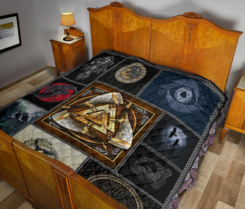 Image of 1stIceland Viking Premium Quilt, Valknut Horn Of Odin Ravens TH0 - 1st Iceland