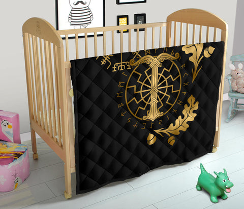 Image of 1stIceland Viking Oak Leaf Premium Quilt Valknut Vegvisir With Irminsul - Gold K8 - 1st Iceland