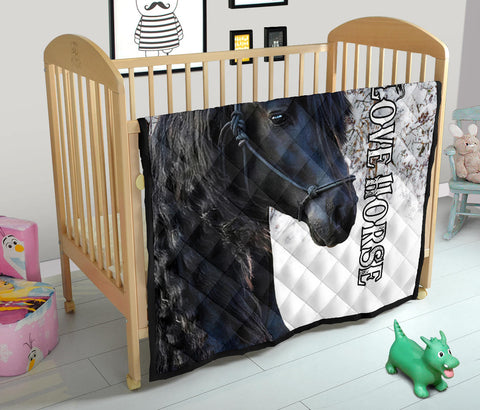 Image of 1stIceland Beautiful Friesian Horse Premium Quilt TH12 - 1st Iceland