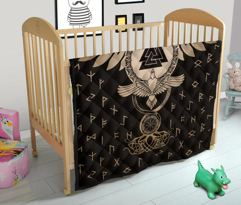 Image of 1stIceland Viking Premium Quilt, Flying Raven Tattoo And Valknut Gold - 1st Iceland