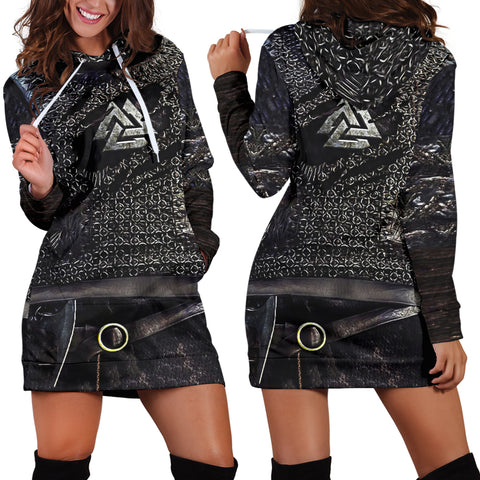 1stIceland Vikings Hoodie Dress, Valknut 3D Viking Armour Th00 - 1st Iceland