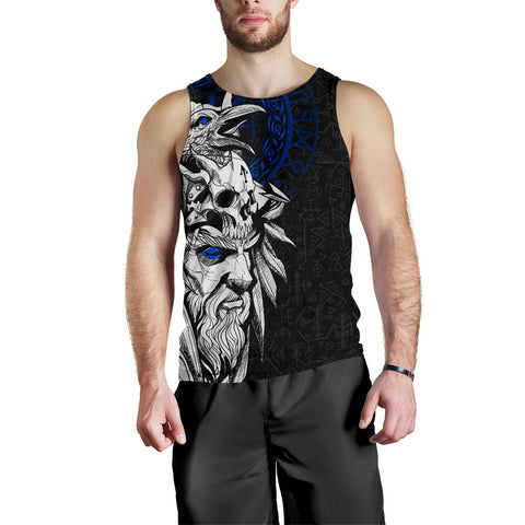 Image of 1stIceland Viking Odin And Raven Blue Men's Tank Top TH12 - 1st Iceland