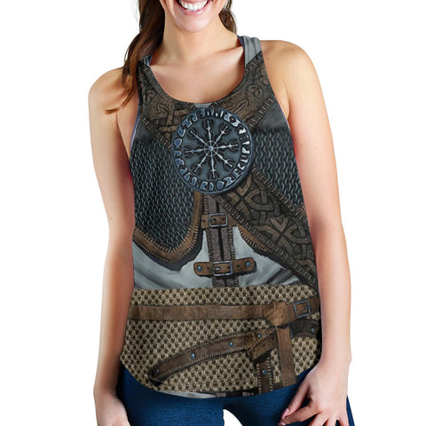 1stIceland Viking Women Racerback Tank, 3D Vikings Armor with Helm Of Awe Th00 - 1st Iceland