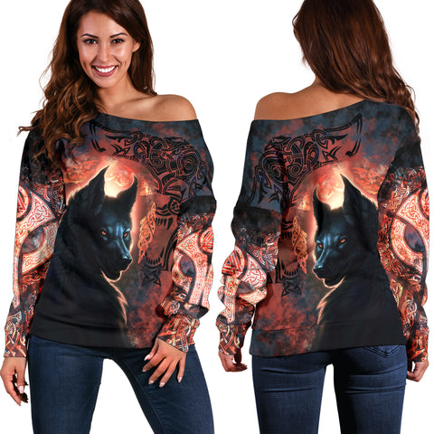 1stIceland Viking Women's Off Shoulder Sweater Fenrir Grunge Style TH12 - 1st Iceland