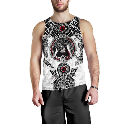 Image of 1stIceland Men's Tank Top, Fenrir Skoll And Hati Valknut White TH00 - 1st Iceland