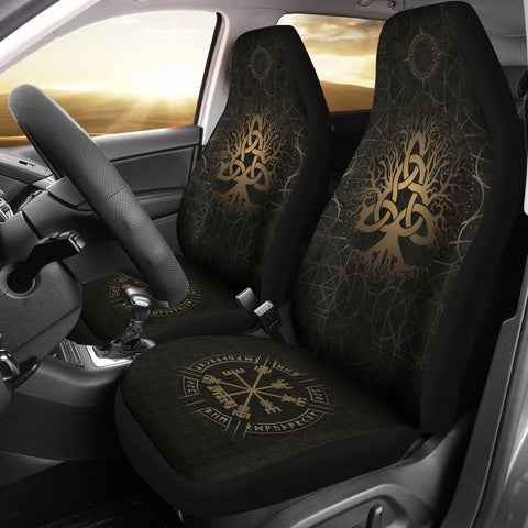 1stIceland Viking Car Seat Covers, Tree Of Life Vegvisir Runes Circle K7 - 1st Iceland